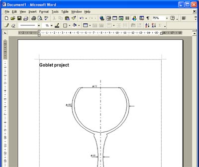 Woodturning design exported to a Word document